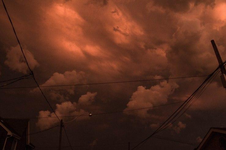 dark red sky