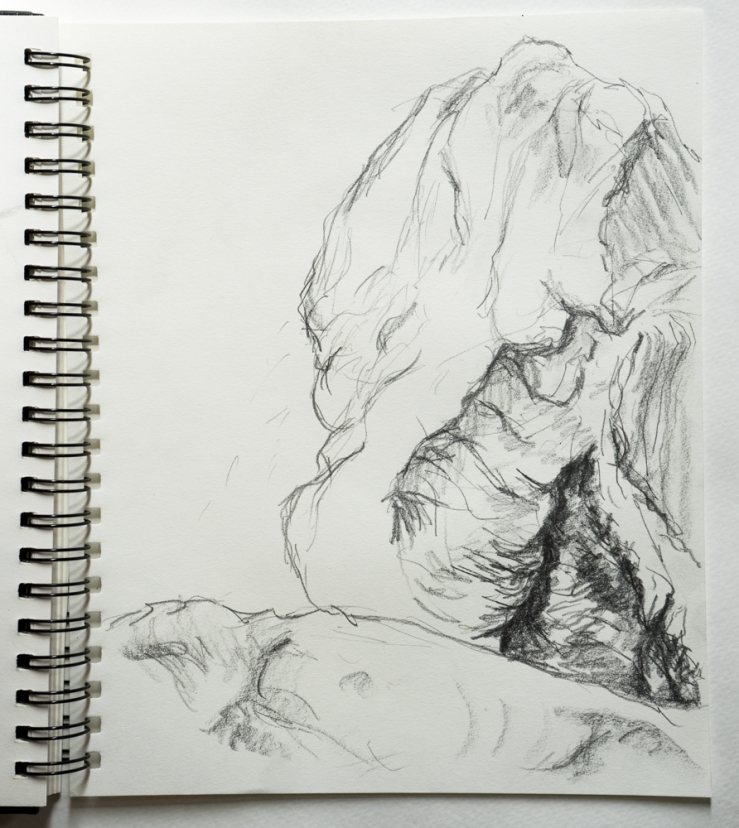 rock fountain drawing
